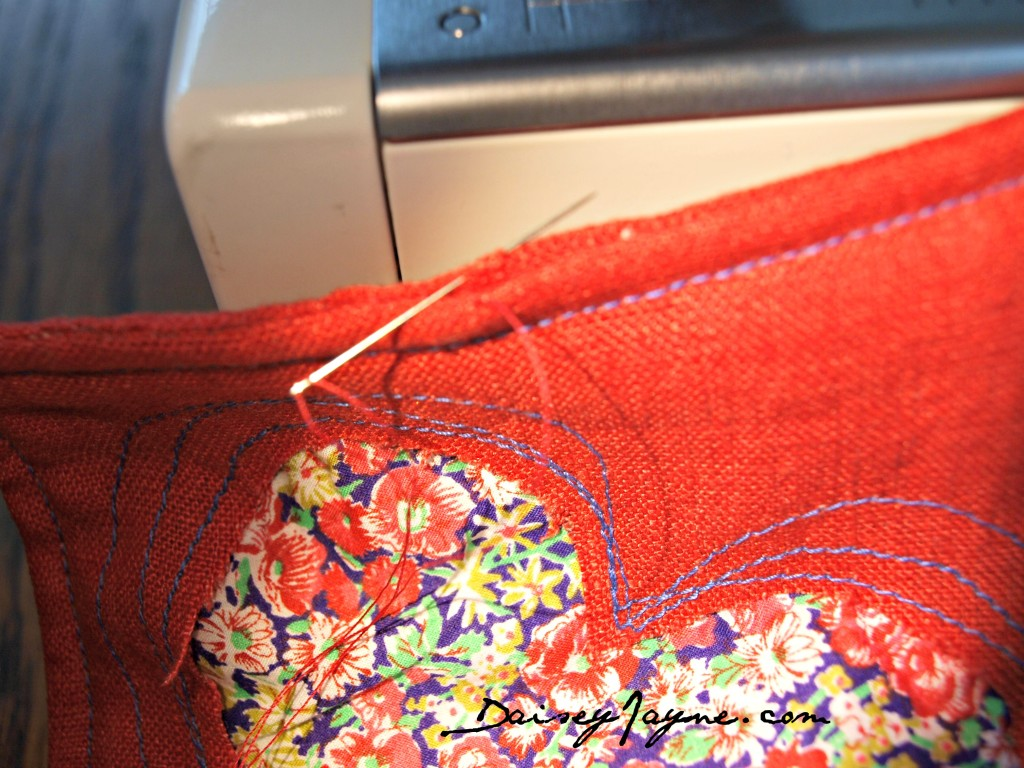 top stitch and blind stitch opening