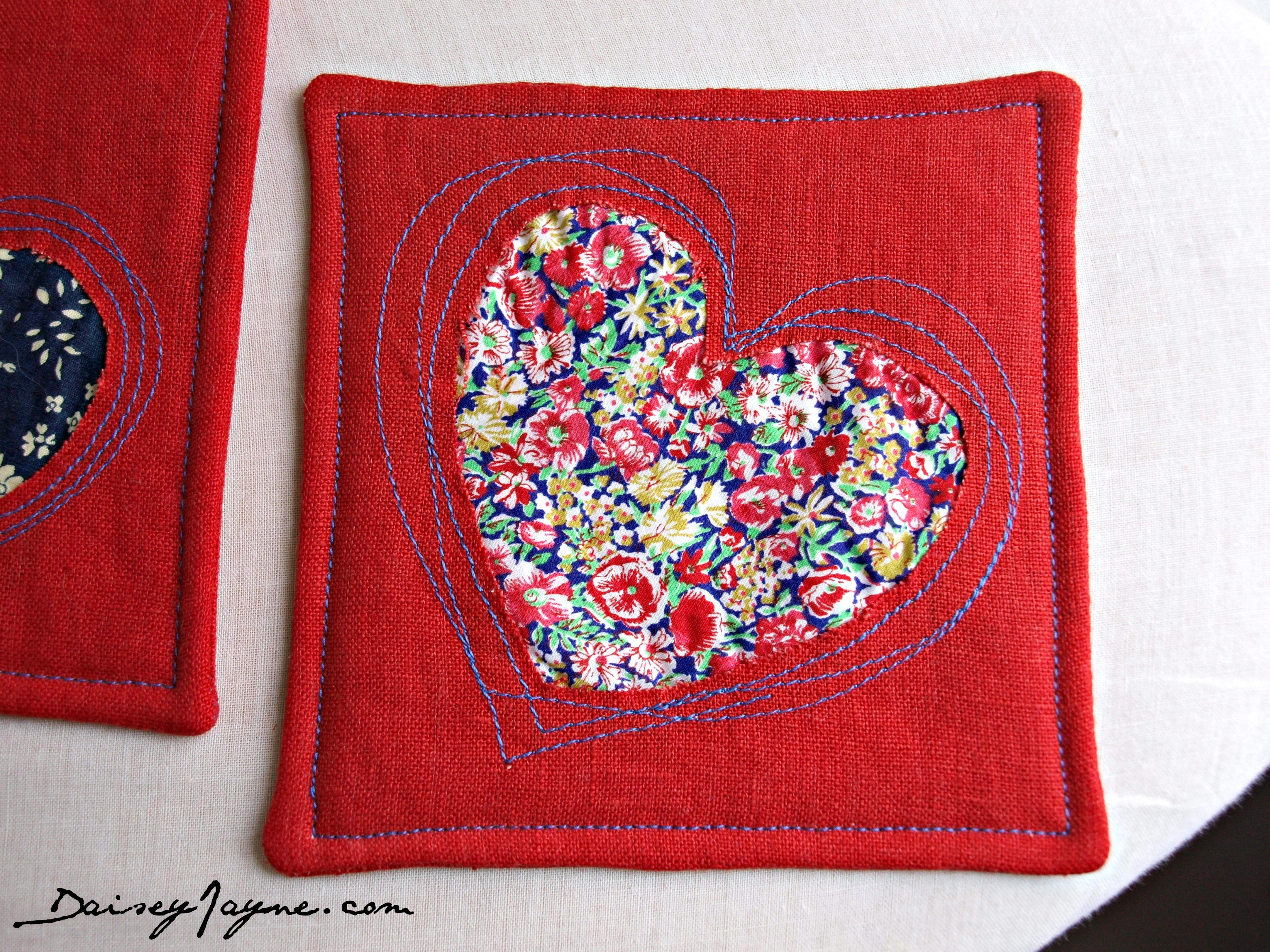 Reverse applique coasters, I just love this technique! - Daisey Jayne