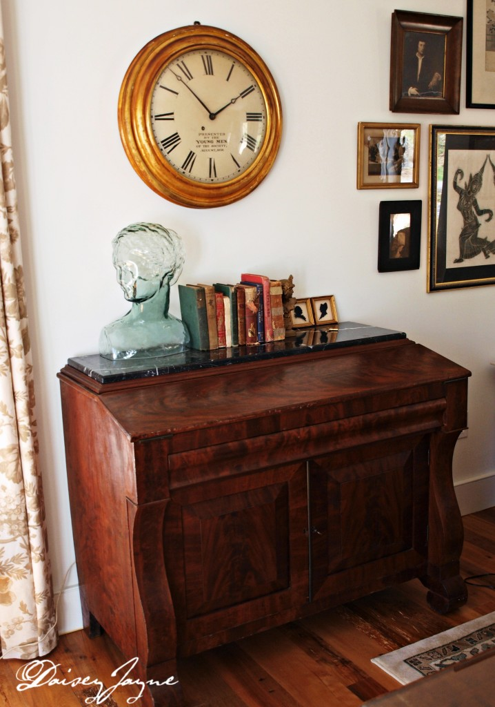 antique gallery clock and empire desk