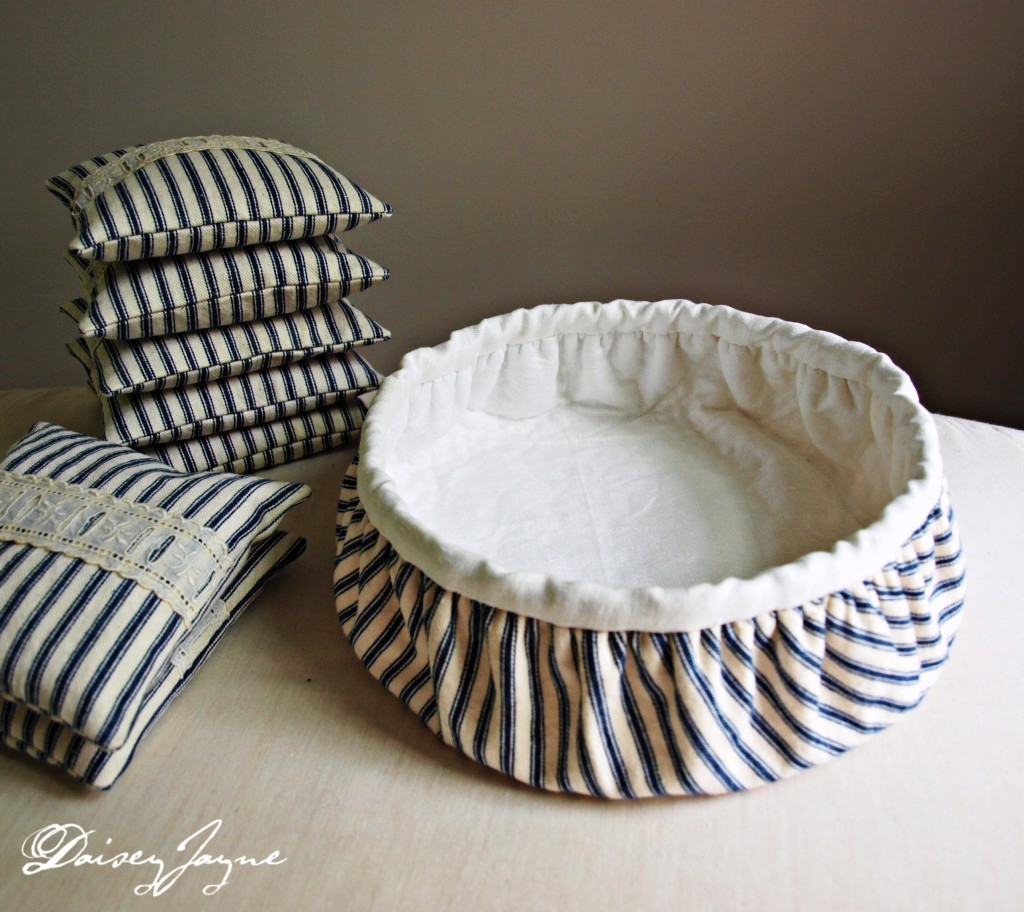 linen lined ticking bowl