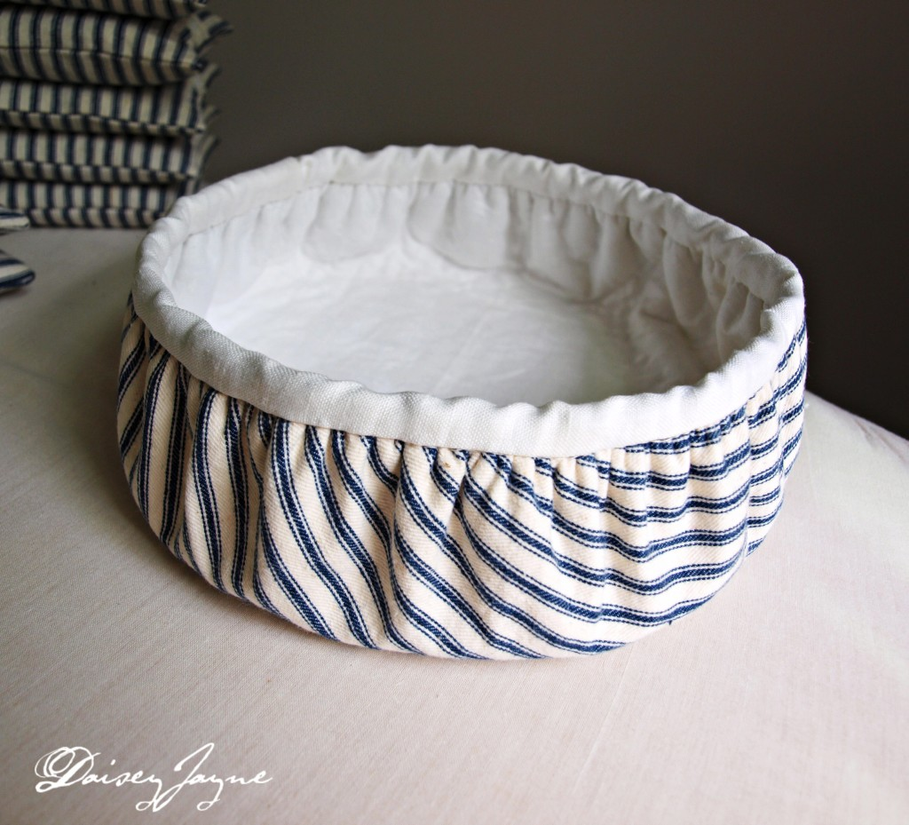 antique linen lined ticking bowl