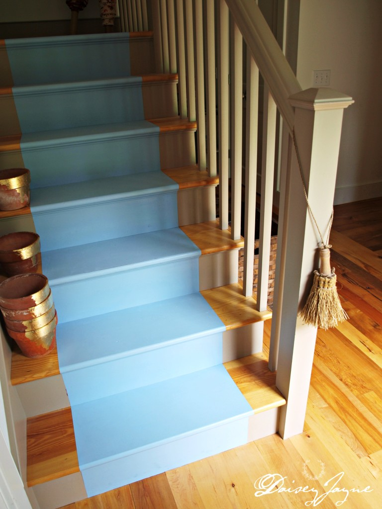 painted stairs in Louis Blue